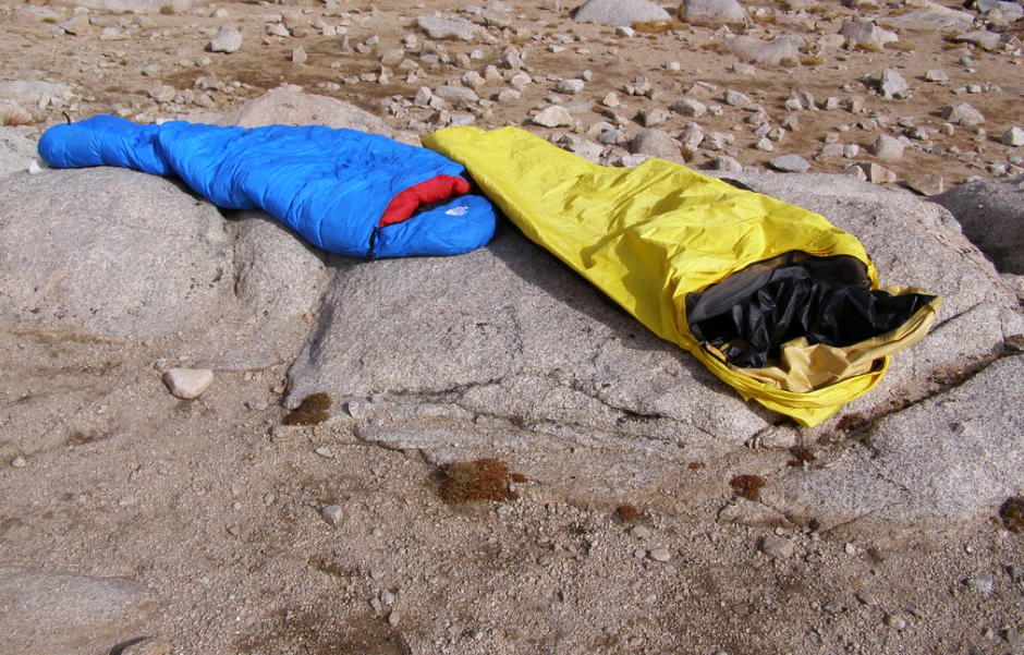 Blue and yellow sleeping bags
