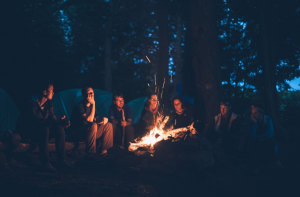 Friends around fire