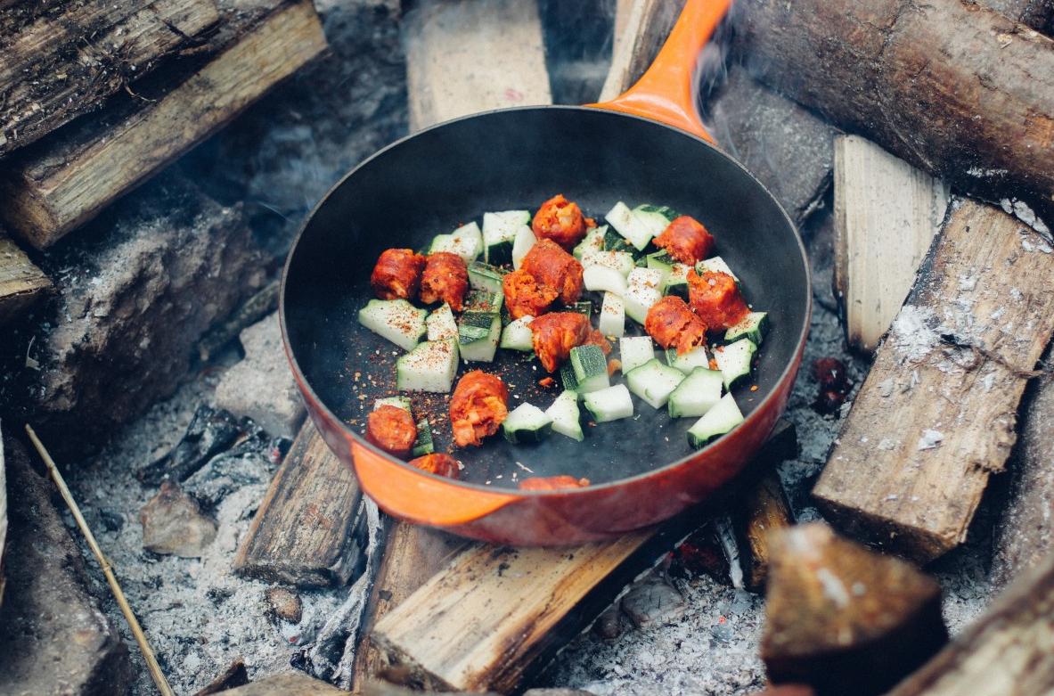 Preparing food in a pan