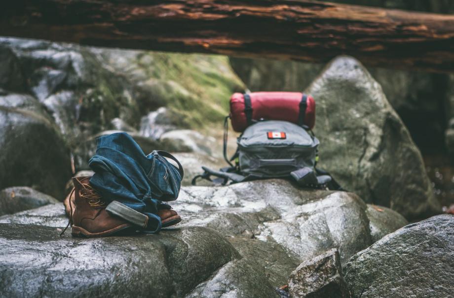 Backpacks on the rocks