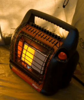 A heater in the tent