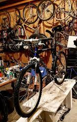 a bike in a workshop