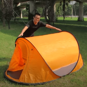 Folding the tent step by step