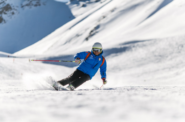 A skier on a slope