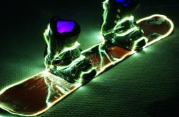 Glowing snowboard and boots