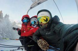 Three persons on a ski lift