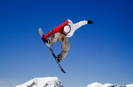 a snowboarder in the air
