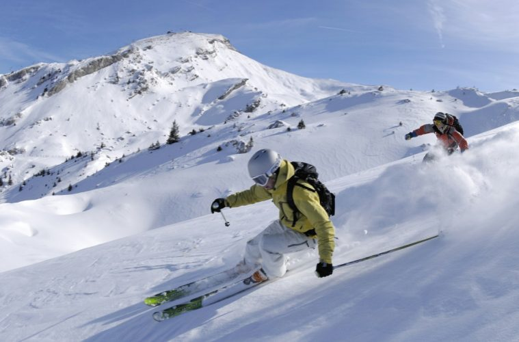 Two skiers on the powder snow