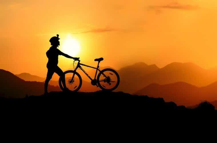 driving bike on mountains